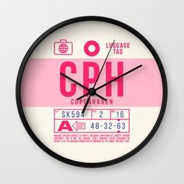 Baggage Tag B - CPH Copenhagen Kastrup Denmark Wall Clock