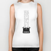 matrix Biker Tanks featuring Matrix Typewriter by Martin Au