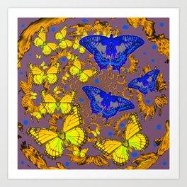 Decorative Blue & Yellow Butterfly Patterns Art Print