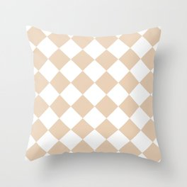 Large Diamonds - White and Pastel Brown Throw Pillow