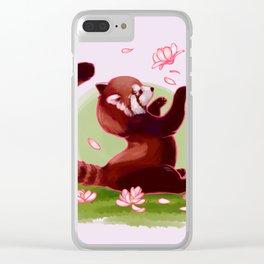 Magnolia Red Panda Clear iPhone Case