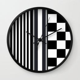 Black White Stripes Squares Digital Pattern Print Wall Clock