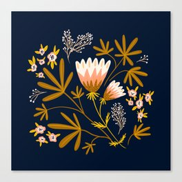 Dark Blue Floral Design Canvas Print