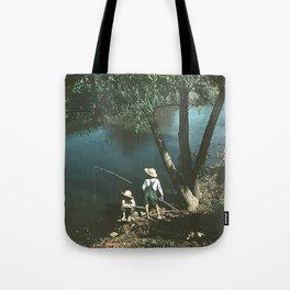 "Vintage Rockwell-Like Photo ""Gone Fishing"" Tote Bag"