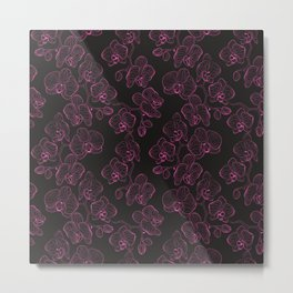 Seamless flower pattern with orchids phalaenopsis background Metal Print