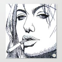 angelina jolie Canvas Prints featuring Angelina Jolie by The Curly Whirl Girly.