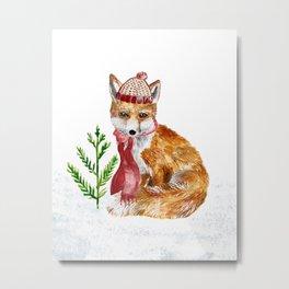 Cute Winter Fox in Hat and Scarf Metal Print