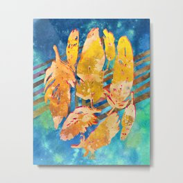 Boho Feathers Gold Blue Teal Metal Print