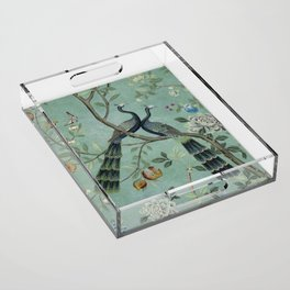 A Teal of Two Birds Chinoiserie Acrylic Tray