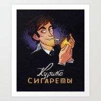 cigarettes Art Prints featuring Smoke Cigarettes by grrrenadine