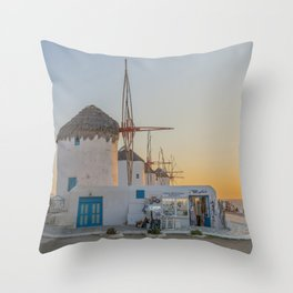 Mykonos Windmills by Pupina Throw Pillow