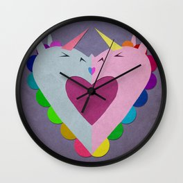 The heart has a kiss in mind Wall Clock