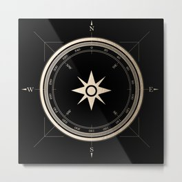 Black on Gold Metallic Compass Metal Print