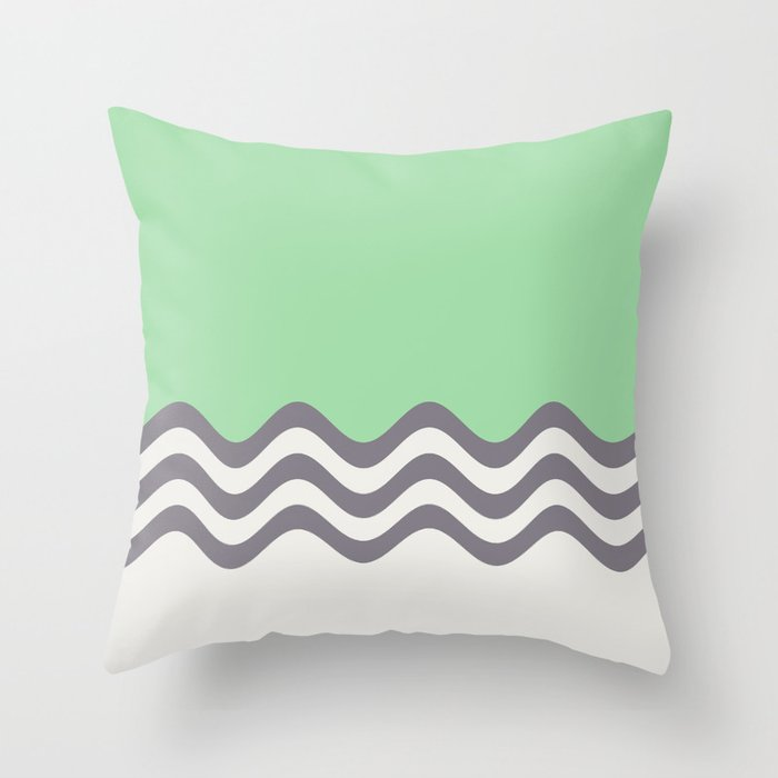 Pastel Green, Gray & Linen White Wavy Stripes 2 Pairs to Coloro 2020 Color of the Year Neo Mint Throw Pillow