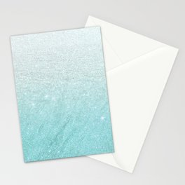 Modern chic teal pastel gradient faux glitter Stationery Cards