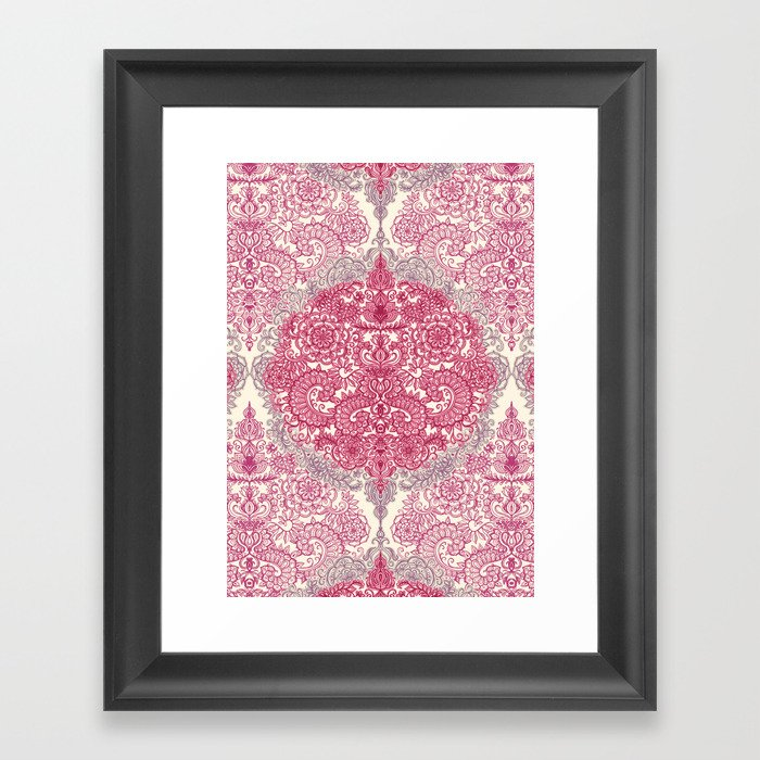 Happy Place Doodle in Berry Pink, Cream & Mauve Framed Art Print