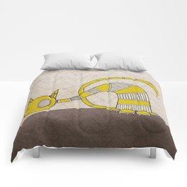 Yellow Curious Cat II Comforters