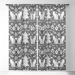 Black And White Merry Catmas Hygge Folk Art X-Mas Pattern Sheer Curtain