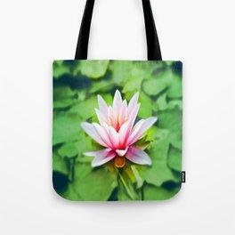 Pink Lotus Waterlily & Green Lily Pads Tote Bag