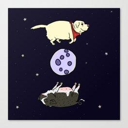 Dog and Pig Circle the Moon Canvas Print