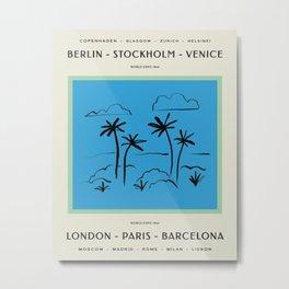 Vintage World Expo Poster - Blue Metal Print