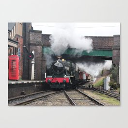 Vintage Steam Railway Train at the Station Canvas Print