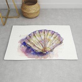 Watercolor Seashell Painting on White 7 Minimalist Coast - Sea - Beach - Shore Rug