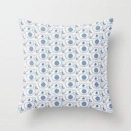 Nautical Seagoing Pattern Throw Pillow