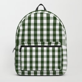 Dark Forest Green and White Gingham Check Backpack