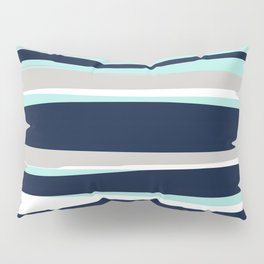 Ocean, Stripe Abstract Pattern, Navy, Aqua, Gray Pillow Sham