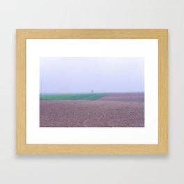Tree in a Field in the Fog Framed Art Print