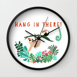 Hang in there! - Sloth Wall Clock