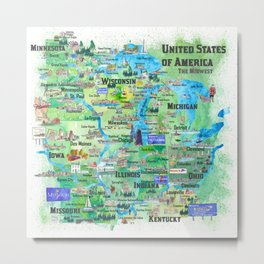 USA Midwest States Travel Map MN WI MI IA KY IL IN OH MO With_Highlights Metal Print