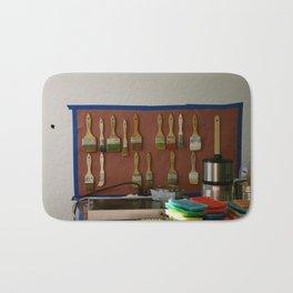 Paint Brushes and the Artist's Studio Setup Bath Mat