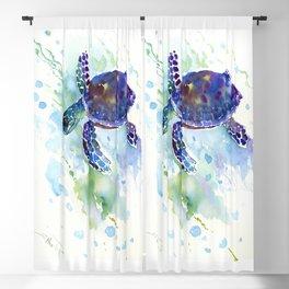 Happy Sea Turtle, aquatic marine blue purple turtle illustration Blackout Curtain