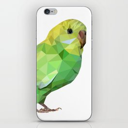 Geometric green parakeet iPhone Skin