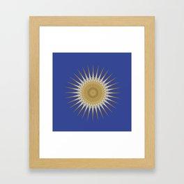 Bright Blue Gold Star Mandala Framed Art Print