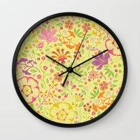 oriental Wall Clocks featuring Oriental Blooms by Poppy & Red