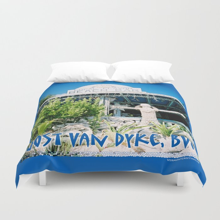 Ivan's on Jost Van Dyke, BVI- World's best honor bar! Duvet Cover