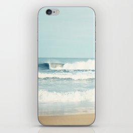 Ocean Photography, Calming Sea Photo, Blue Waves Seascape Photograph, Beach Print iPhone Skin