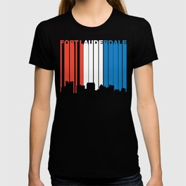 Red White And Blue Fort Lauderdale Florida Skyline T-shirt