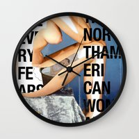 woman Wall Clocks featuring The North American Woman by Matthew Billington