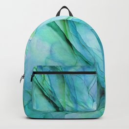 Sea Green Flowing Waves Abstract Ink Painting Backpack