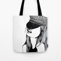 mad hatter Tote Bags featuring MAD HATTER by ZOBOHO