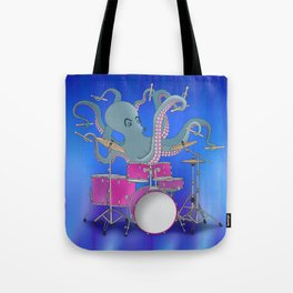 Octopus Playing Drums - Blue Tote Bag