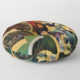 Classical Masterpiece - Instruments of Power - Train, Airplane, Steam by Thomas Hart Benton Floor Pillow