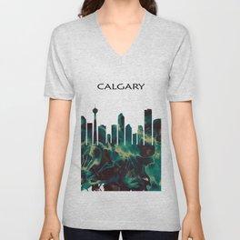 Calgary Skyline Unisex V-Neck