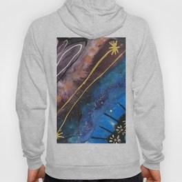 Jewel Toned Abstract with Floral Details Hoody