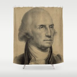 Vintage George Washington Portrait Illustration Shower Curtain