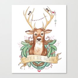 Deer Valentine Canvas Print
